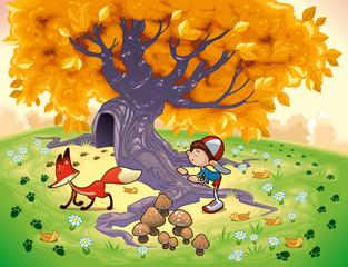Boy and Fox. Cartoon vector illustration.