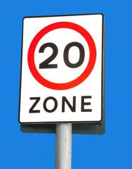 20 mph zone sign on blue sky