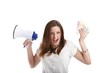 crying woman with a megaphone and money (white background)