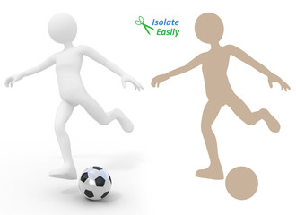 Football player kicking the ball. Isolate easily and paste on an