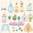 Birds and cages vintage clipart.
