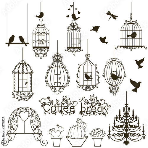 Poster Vogels in kooien Birdcage set.