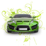 Green hybrid car on a abstract floral background. Non-branded co