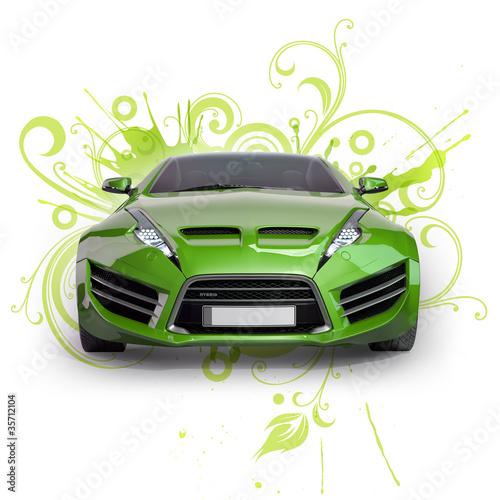 zielony-hybrydowy-samochod-na-abstrakcjonistycznym-kwiecistym-tle-non-branded-co