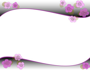 onde sfumate di grigio e viola con fiori e ghiri