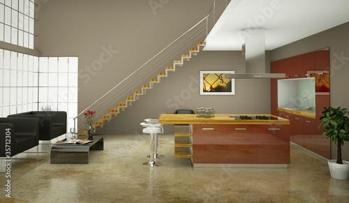Küchendesign - Küche im Loft rot
