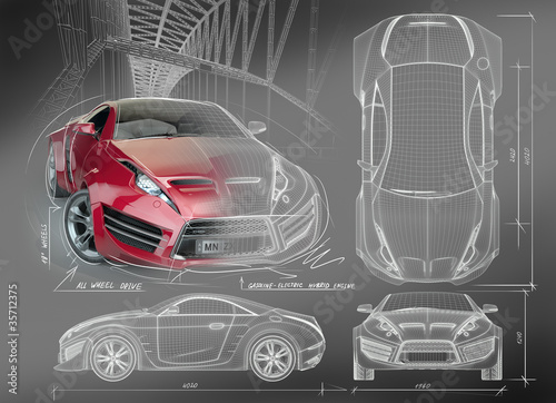 Cars and motorbike wall murals car wallpaper murals bike murals click for walldecal price sports car blueprints non branded concept car malvernweather Gallery