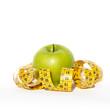 Mela verde e metro, misura, dieta, salute, alimentazione