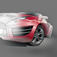 Red sports car with a wireframe