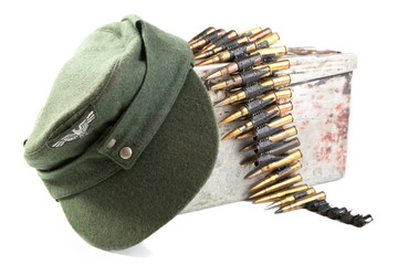 Kepi of the German soldier and machine-gun tape