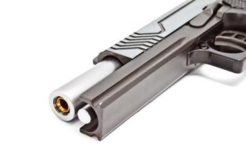 .45 semi automatic handgun, opened slice position