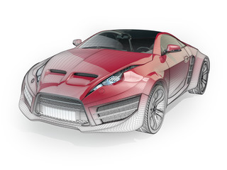 Concept car with wireframe