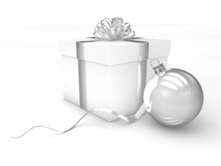3d Rendering Geschenk mit Christbaumkugel silber