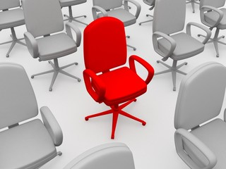 Red chair of the leader