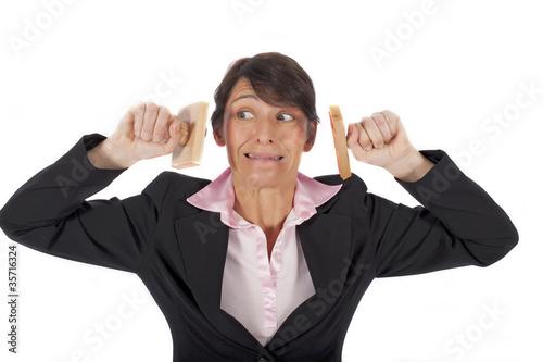 Frau mit Stempeln