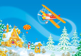 Santa flying in his airplane