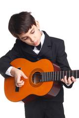 Young cute guitarist