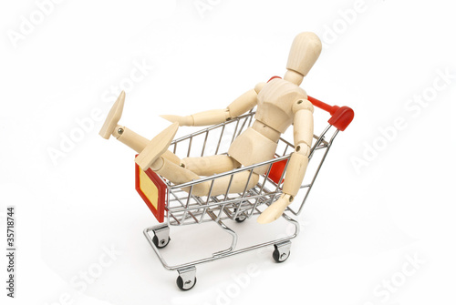 puppet sit in shopping cart