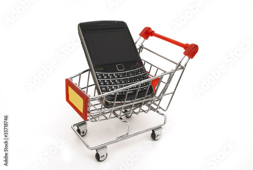 mobile phone in shopping cart