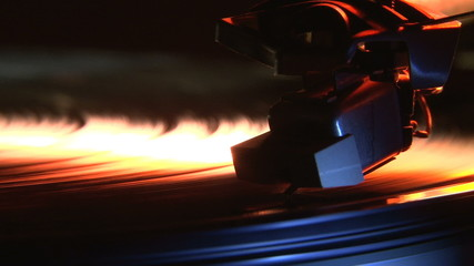 Record player, orange, close up