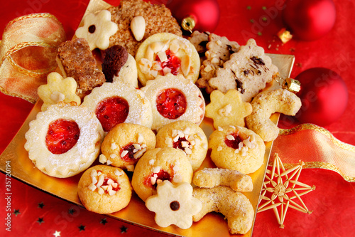 Weihnachtsteller in rot-gold - Christmas Cookies