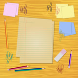Work desk with stationery