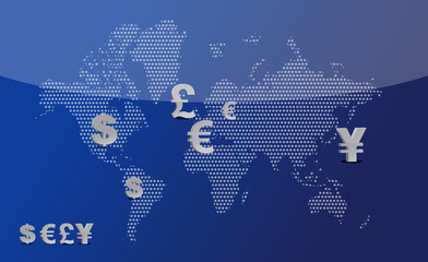 Map with currency symbols illustration design