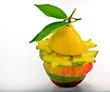 Mixed alternate slices of fruit with averrhoa carambola