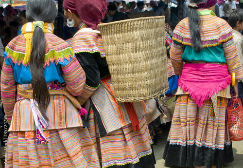 Intricate flower  hmong indigenous tribe colorful dress in Bac H