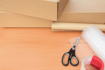 Packaging Materials with Boxes and Copy Space