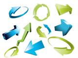3d arrows, 3d arrow sketchy design elements set poster
