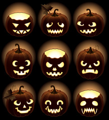 Set of Halloween pumpkins Jack O'Lantern