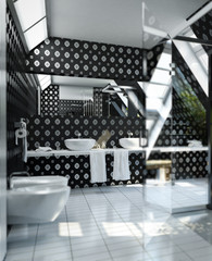 Bathroom in silver-black (focus)