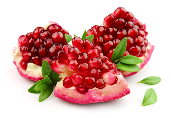 Sweet pomegranate with leafs