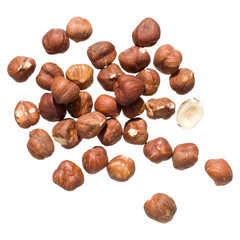 handful of hazelnuts, isolated