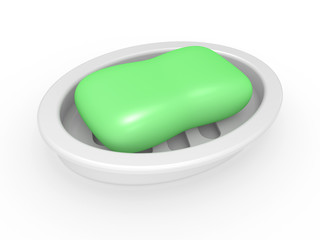 Soap in a soap tray