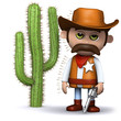 3d Sheriff stands by a very prickly cactus