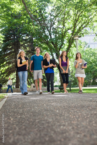 Happy Students Walking on Campus
