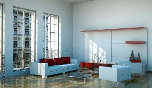 Wohndesign - modernes Wohnzimmer weiss rot von virtua73 ...