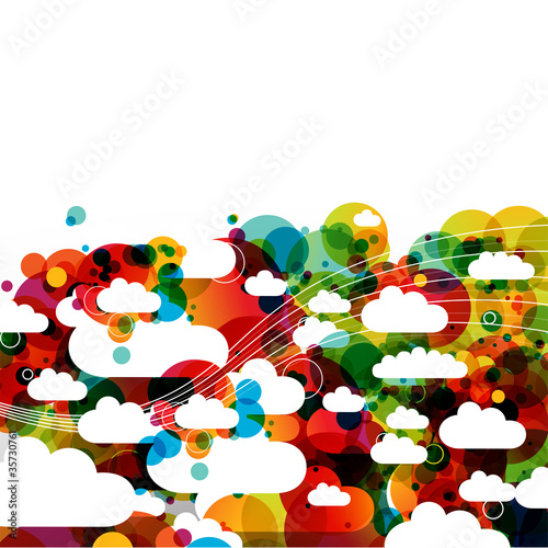 funky abstract clouds - creative illustration