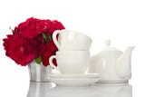 White crockery for tea and a bouquet of roses poster