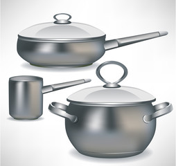 set of pans and simple pot