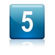 Boton cuadrado azul numero 5
