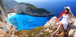 Beautiful woman on Greece coast, Navagio beach, Zakynthos