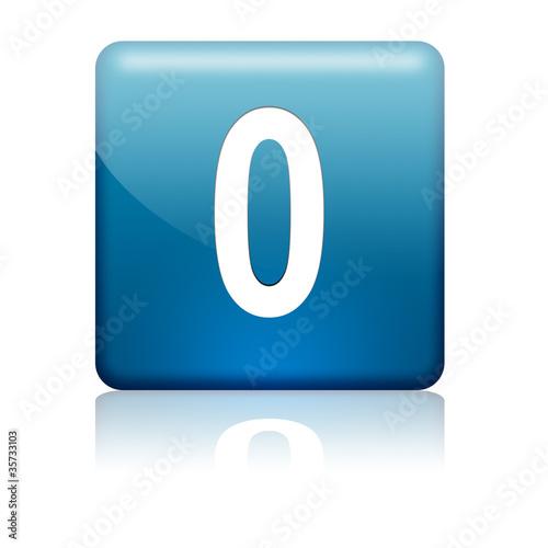 Boton cuadrado azul numero 0