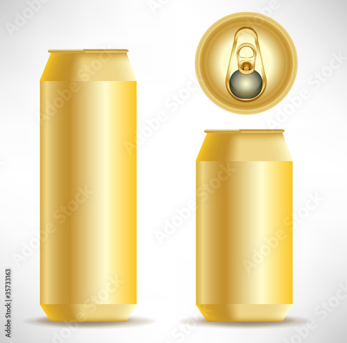 golden beverage can