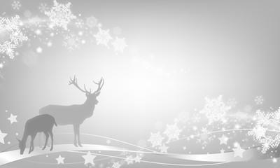 Weihnachtsstimmung, Hirsch und Reh