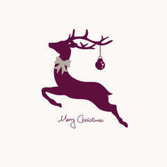 Xmas Card Flying Reindeer Purple With Bow
