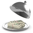 3d Silver service tray with dollars