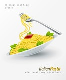 Italian Pasta in plate with fork